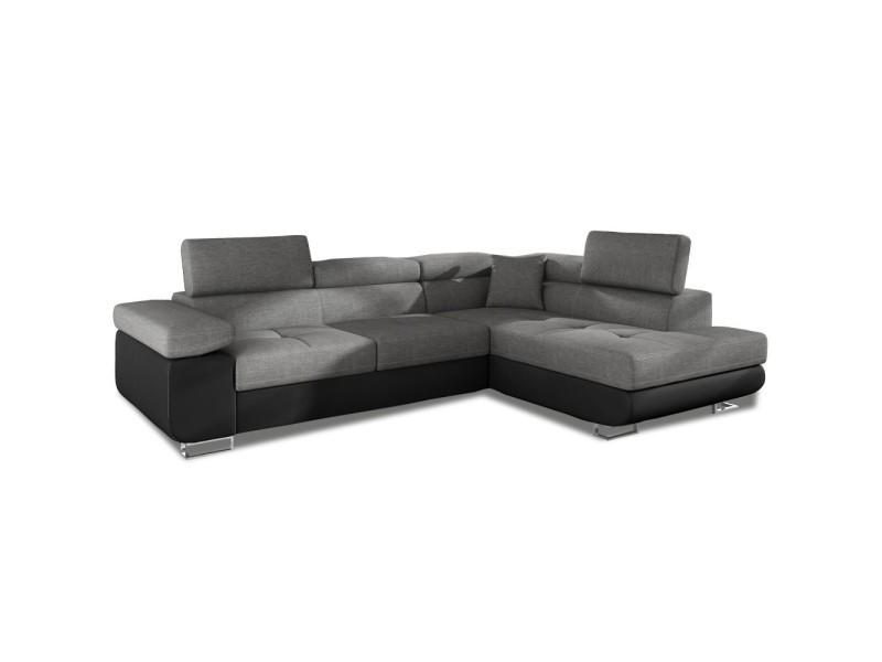 Canapé d'angle droit convertible marius gris et noir