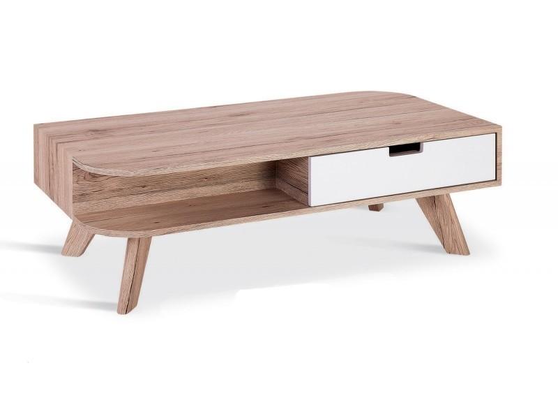 Table basse scandinave en bois timaru avec tiroir laqué-
