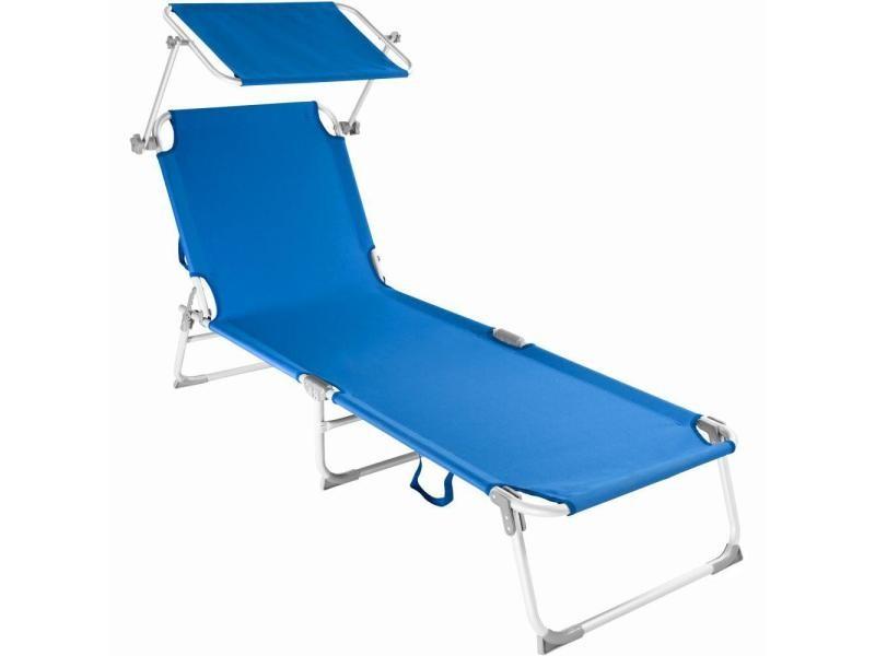 Transat bain de soleil meuble jardin aluminium bleu helloshop26 2208102