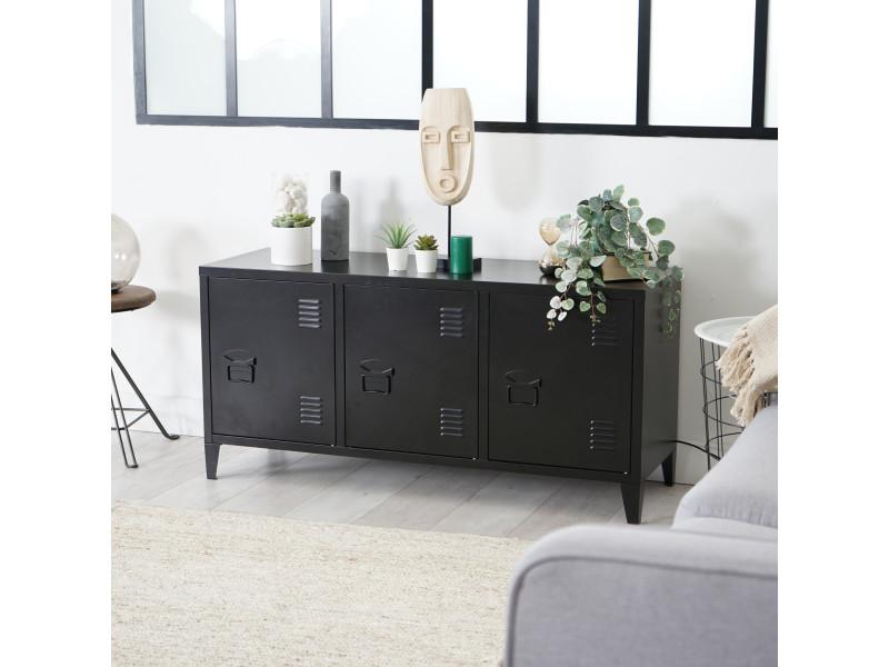 Meuble tv industriel métal 3 portes noir