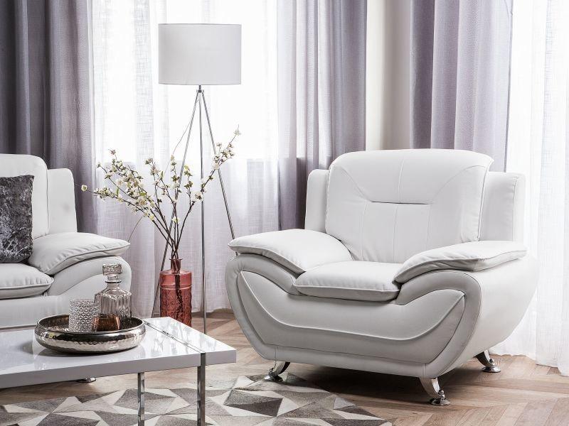 Fauteuil en simili-cuir blanc leira 106806