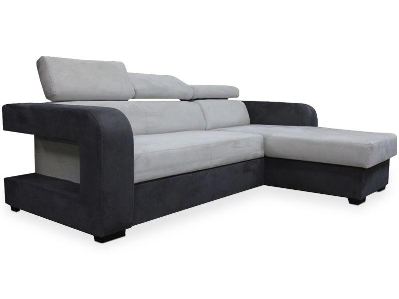 Canapé d'angle convertible espinosa tissu gris et noir