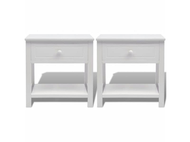 Vidaxl pcs bois chevet 2 table blanc 242871 de de Vente Nv8nm0w