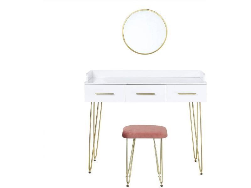 Coiffeuse avec tiroirs miroir 100 cm blanc et doré helloshop26 19_0000015