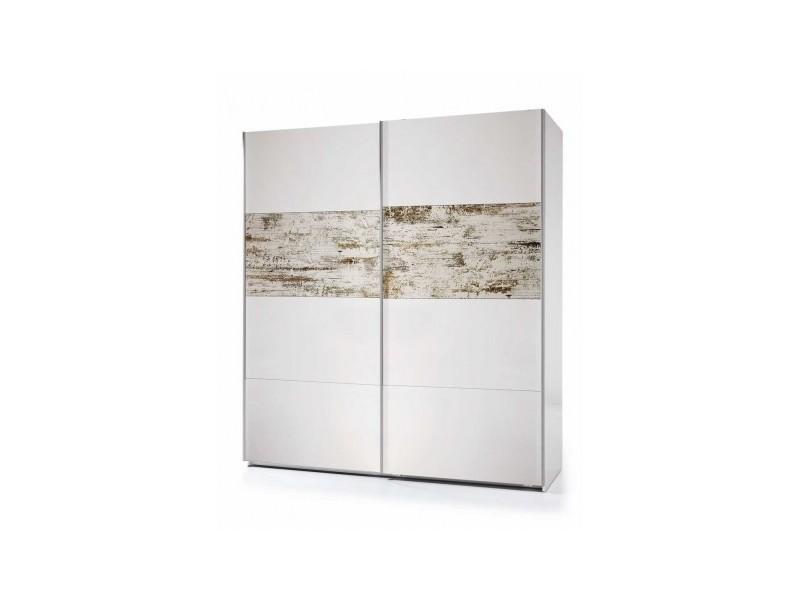Armoire avec 2 portes coloris blanc brillant et vintage - 200 x 180 x 53 cm -pegane-