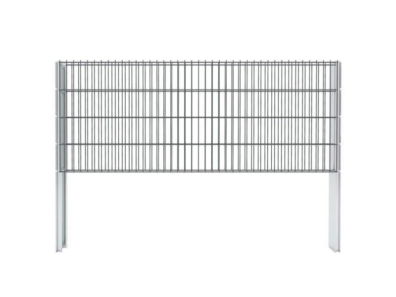 Vidaxl clôture de gabion 2d acier galvanisé 2,008x0,83m 16m total gris 274436