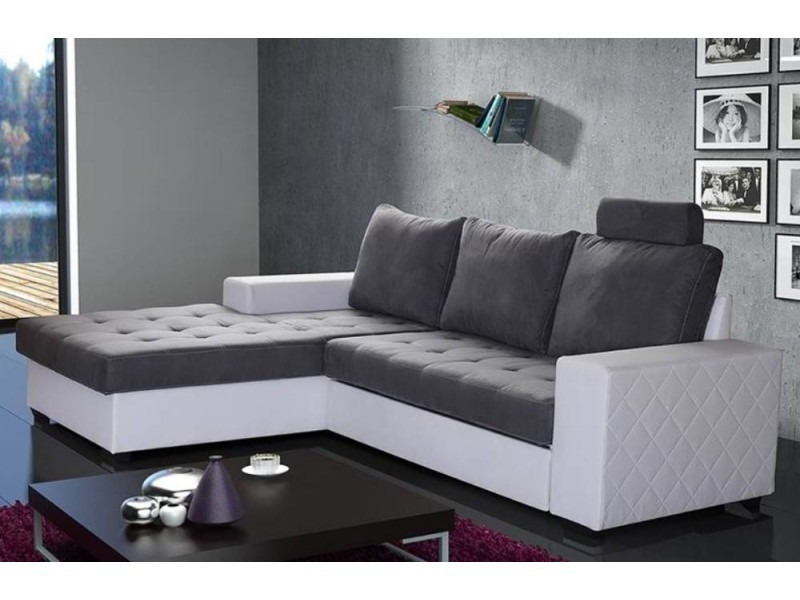 canap d 39 angle gauche gigogne convertible rapido waterford 140cm gris et blanc 20100863755. Black Bedroom Furniture Sets. Home Design Ideas