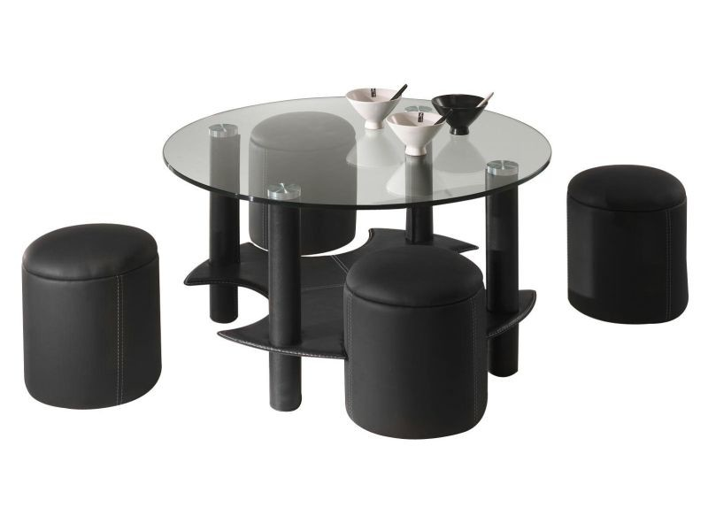 table basse avec 4 poufs en pvc coloris noir vente de comforium conforama. Black Bedroom Furniture Sets. Home Design Ideas