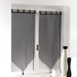 Une paire de rideau voilage passants pompon 60 x 90 cm voiline noir