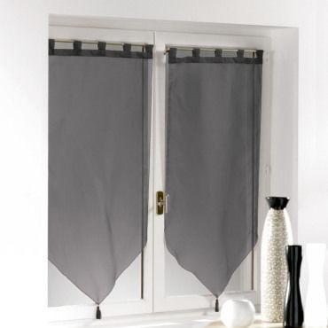 une paire de rideau voilage passants pompon 60 x 90 cm voiline noir vente de rideau voilage. Black Bedroom Furniture Sets. Home Design Ideas