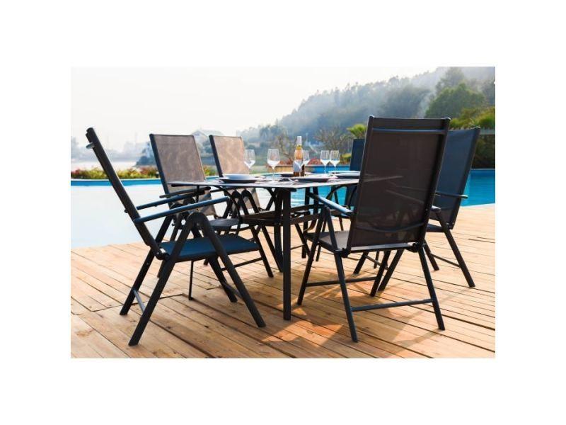 Salon de jardin - ensemble table chaise fauteuil de jardin ensemble repas de jardin en acier et textilene - table avec plateau en verre + 6 fauteuils pliants