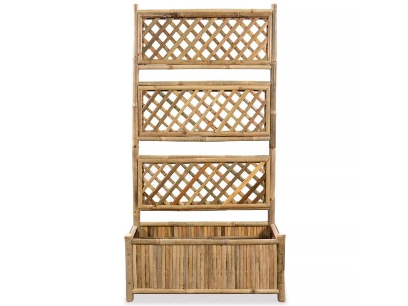 Icaverne - pots et cache-pots famille jardinière avec treillis bambou 70 cm