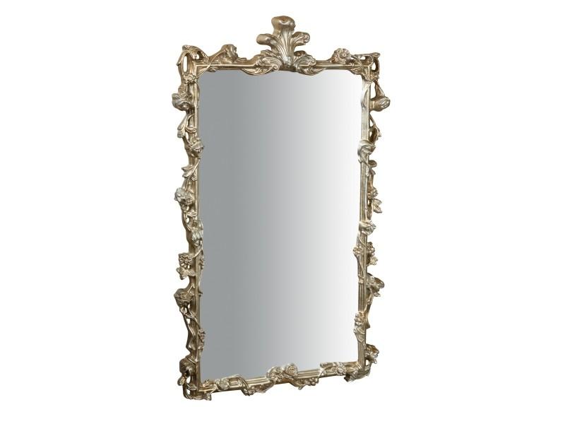 Miroir, long miroir mural rectangulaire, à accrocher au mur, horizontal et vertical, shabby chic, salle de bain, chambre, cadre finition argent antique, grand, long, l59xp6xh98 cm. Style shabby chic.