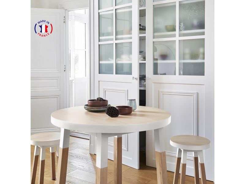 Table ronde 100% frêne massif 90x90 cm blanc balisson - 100% fabrication française