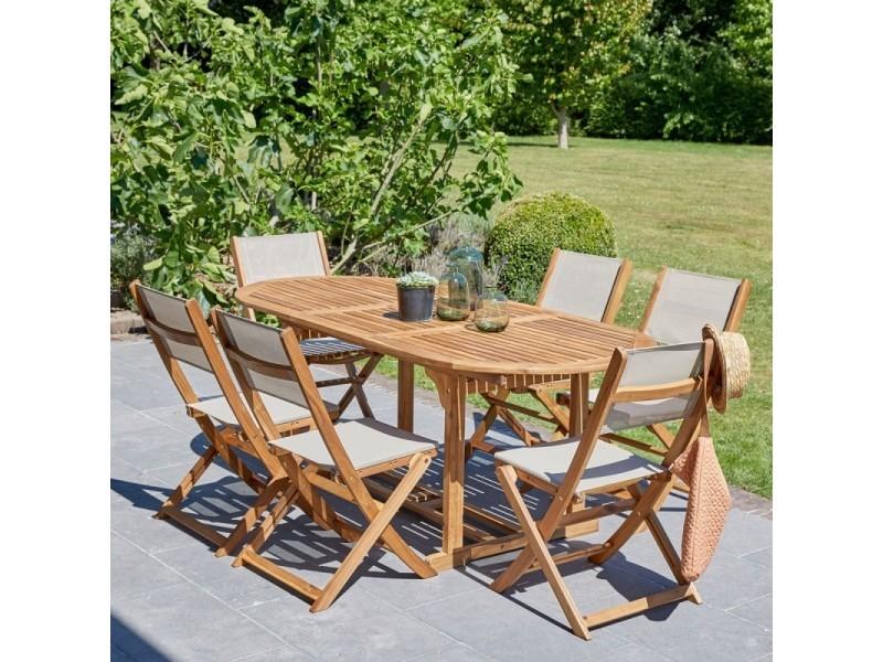 Salon de jardin en bois d\'acacia fsc extensible 6 à 8 places - Vente ...