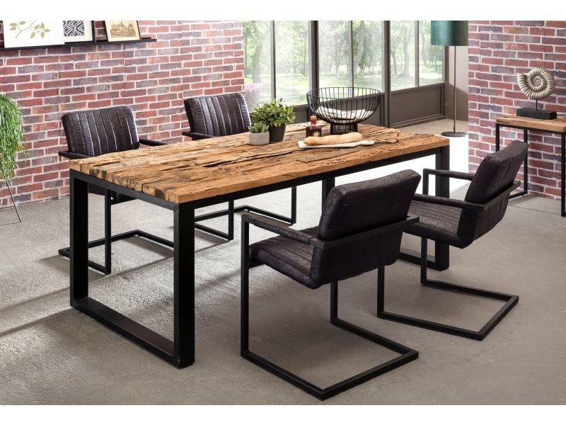 Table de salle manger en bois massif structure en m tal - Conforama table de salle a manger ...