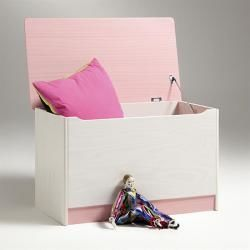 Coffre à jouets hannah pin massif blanc rose