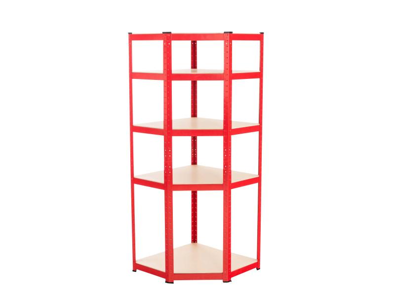 Etagère d'angle flint avec 5 surfaces de rangement , rouge/100x80x200 cm