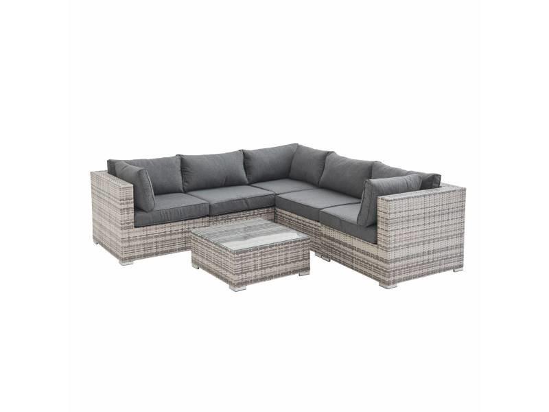 Salon de jardin en résine tressée - napoli - nuances de gris. Coussins gris chiné - 5 places - 2 fauteuils sans accoudoir. 3 fauteuils d'angle. Une table basse