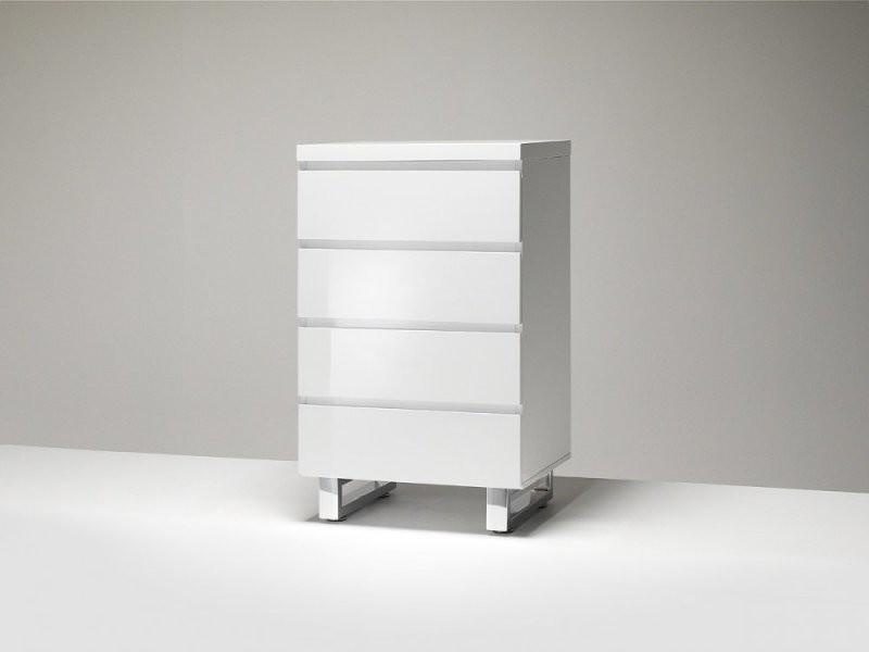 Commode altona blanc laque brillant 4 tiroirs pietement metal chrome 20100884745