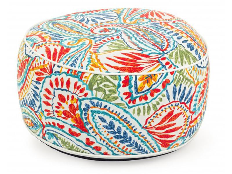 Pouf d'extérieur gonflable multicolore- dim : ø 53 x h 23 cm -pegane-
