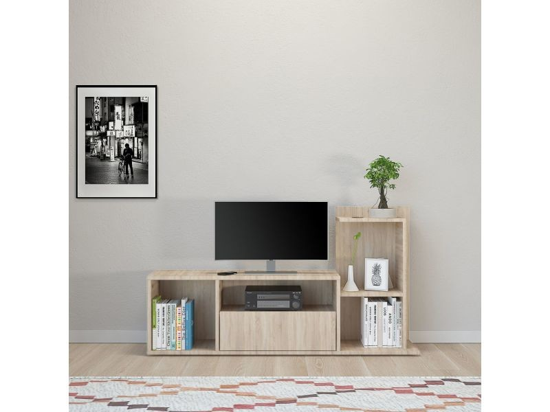 Meuble tv design sumatra - l. 120 x h. 65 cm - marron sonoma