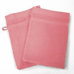 Lot de 2 gants de toilette 15 x 21 cm rose dragee