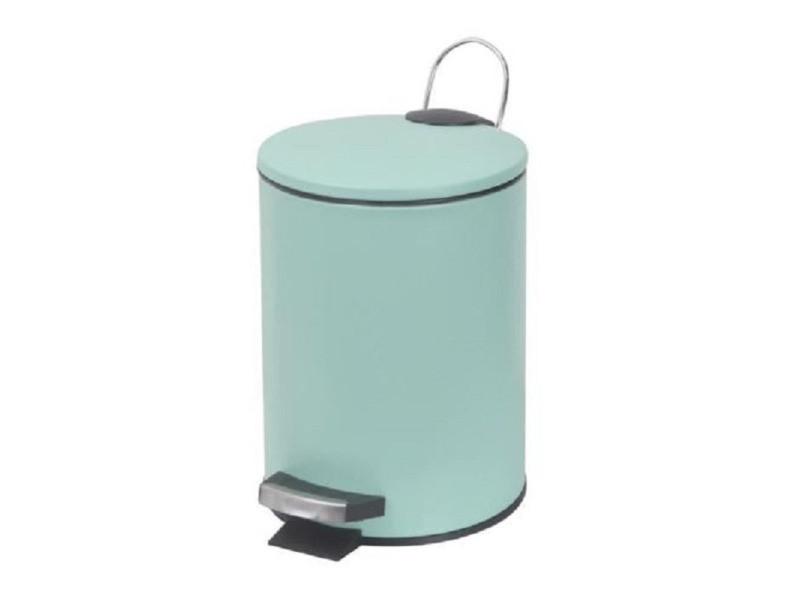 Poubelle à pédale/couvercle vert d\'eau mat - dim : 17x17x24 ...