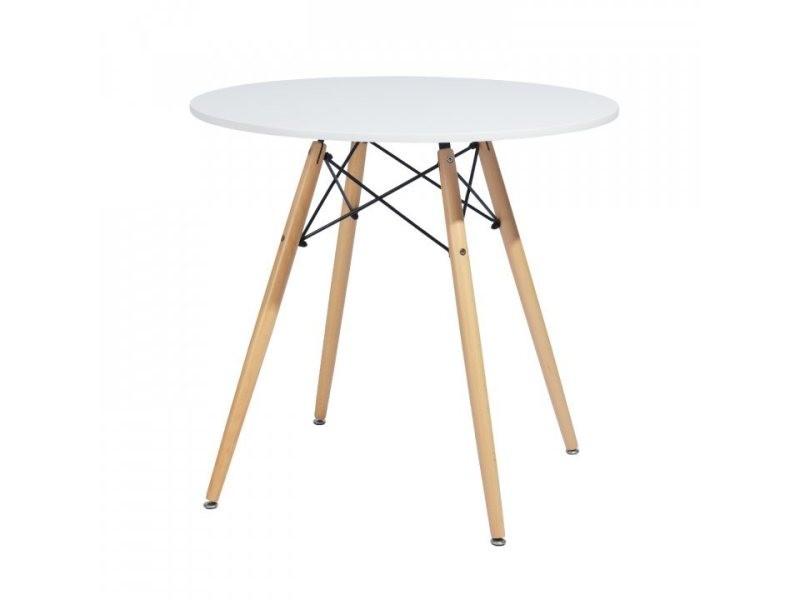Table de salle à manger blanc ronde 2 à 4 personnes, pieds scandinaves blanc et bois