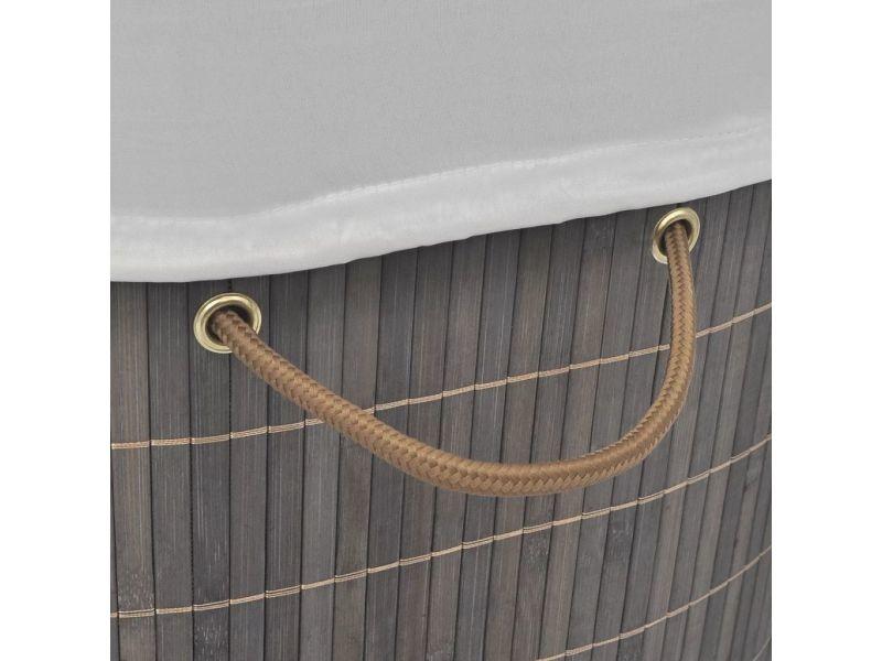 Icaverne - paniers à linge ligne panier à linge ovale bambou marron foncé