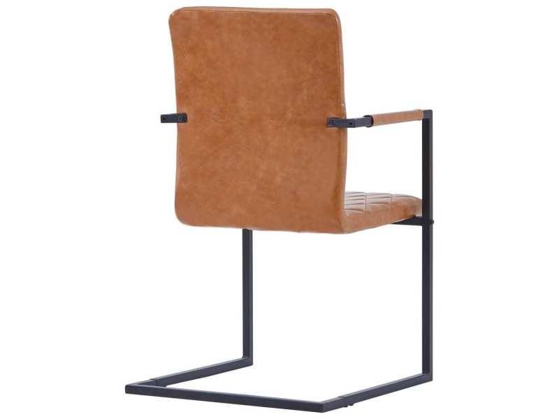 Vidaxl chaises de salle à manger cantilever 4 pcs cognac