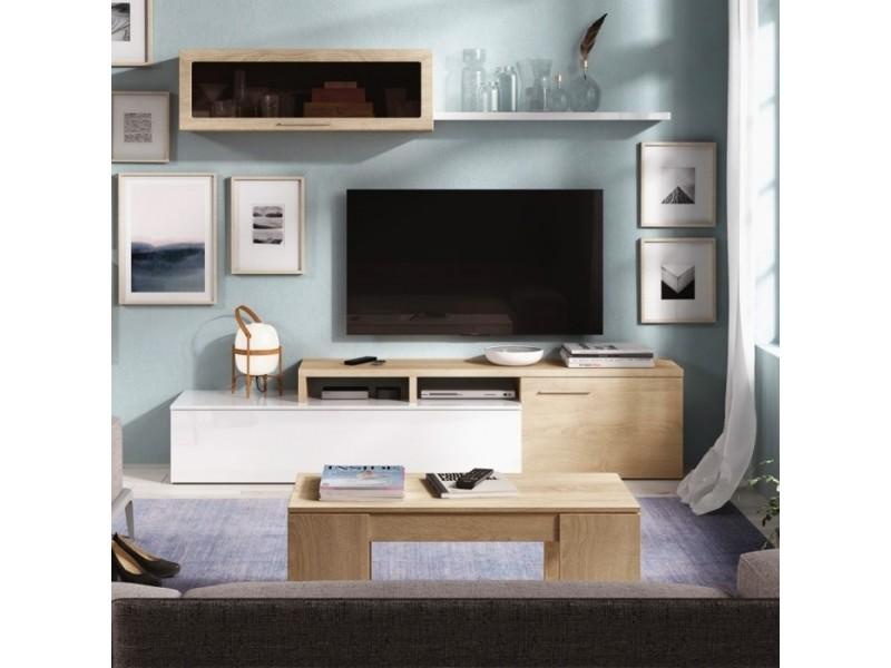 Meuble tv bicolore avec rangements 200 x 44 cm et étagère murale vitrée 105 x 32 cm melina zendart sélection