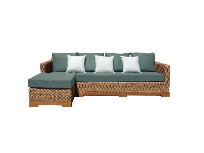 Canapé d'angle déhoussable tressé naturel tissu et mousse bio gauche - authentic