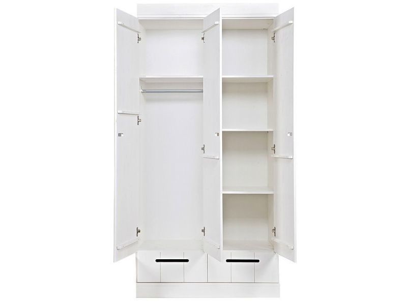 armoire 2 portes et 2 tiroirs pour enfant 93 cm en pin massif coloris blanc vente de comforium. Black Bedroom Furniture Sets. Home Design Ideas