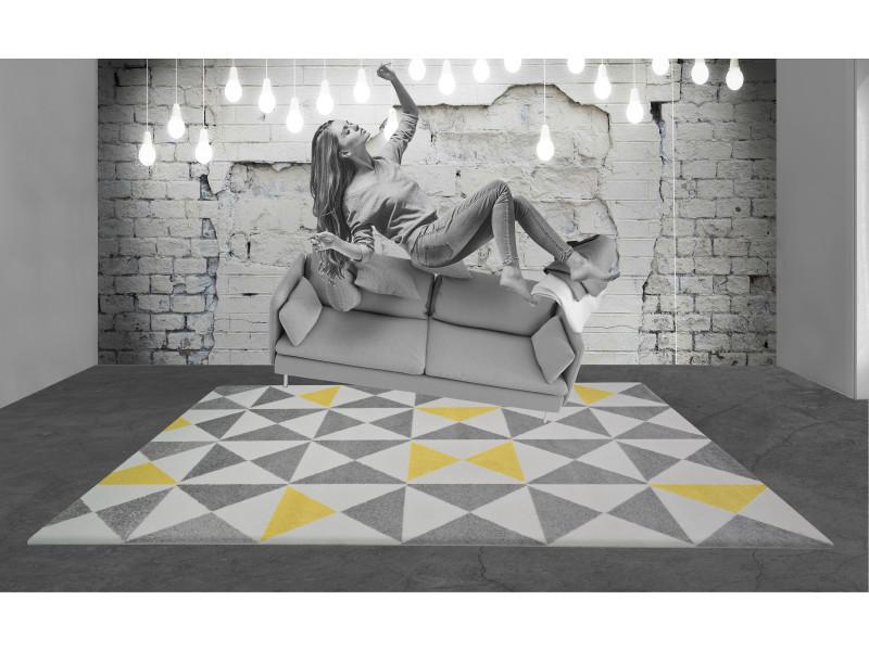 Tapis forsa 80x150 cm jaune, anthracite et creme FINTAPISFJ80150