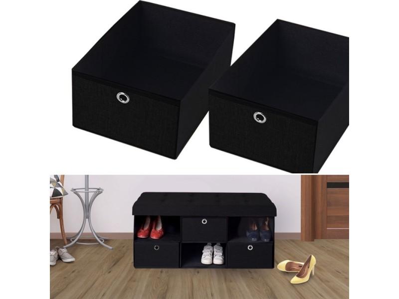 banc coffre tissu 3 tiroirs noir 100x38x38 cm pliable vente de id market conforama. Black Bedroom Furniture Sets. Home Design Ideas