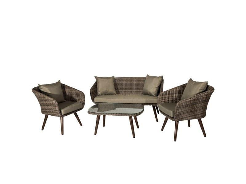 Salon bas de jardin 5 places, 1 canapé 144x67cm + 2 fauteuils ...