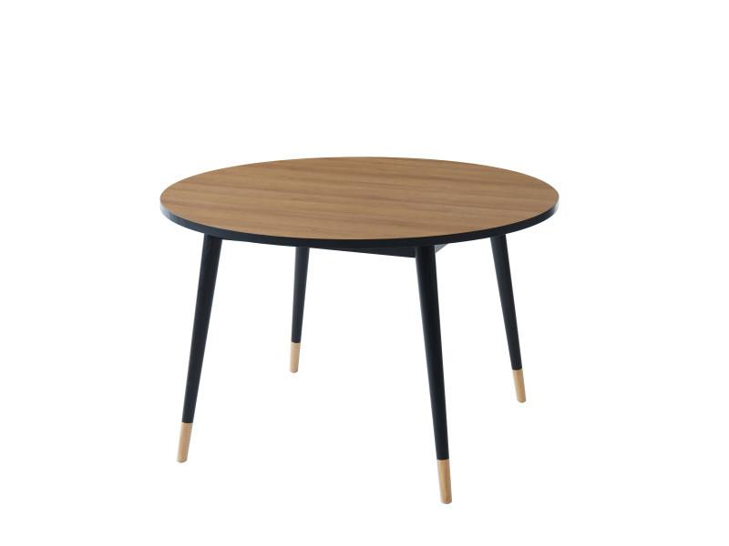 Table de séjour ronde cavallo - coloris bois et noir - l 120 cm