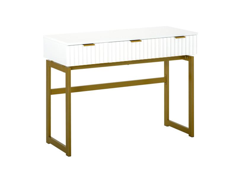 Console table d'appoint style art déco dim. 100l x 40l x 76h cm 3 tiroirs façades texturées métal doré mdf blanc