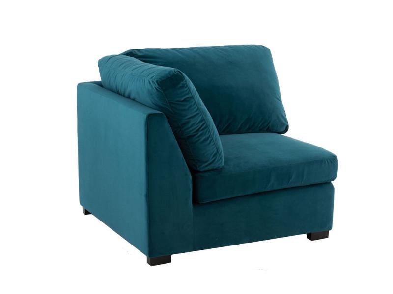 Fauteuil d'angle en velours bleu canard - rurutu - l 93 x l 93 x h 58 - neuf