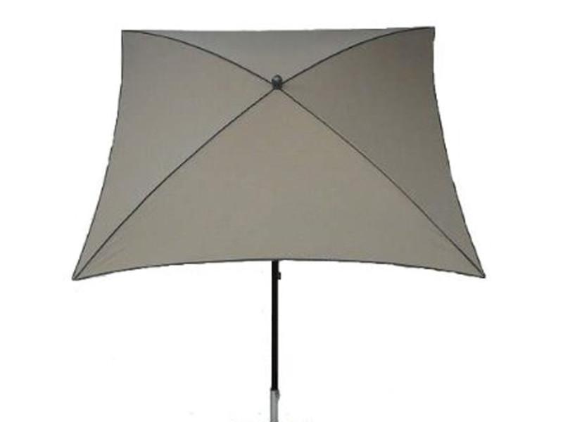 Parasol centré, tissu dralon coloris taupe - dim : 210x130/4 cm - pegane -