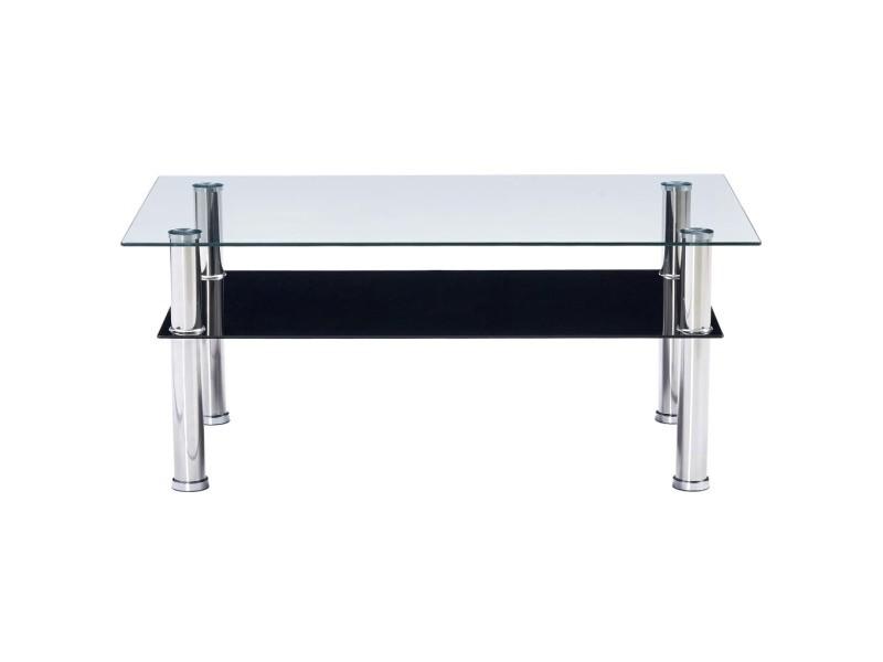Vidaxl table basse noir 100x60x42 cm verre trempé 280098