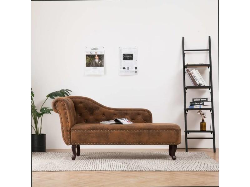 Stylé fauteuils et chaises ligne mbabane chaise longue marron similicuir daim