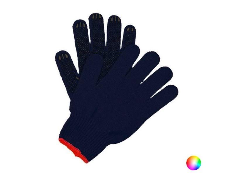 Gants de travail en coton et polyester antidérapant - protection des mains couleur - bleu