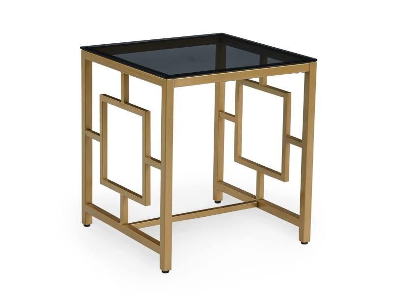Ophir - table basse en verre carrée noir et métal dorée