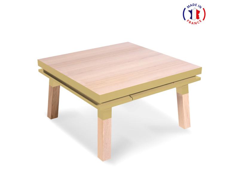Table Basse Carree En Bois Massif Avec Tiroir Jaune Lunaire 100 Made In France Vente De Mon Petit Meuble Francais Conforama