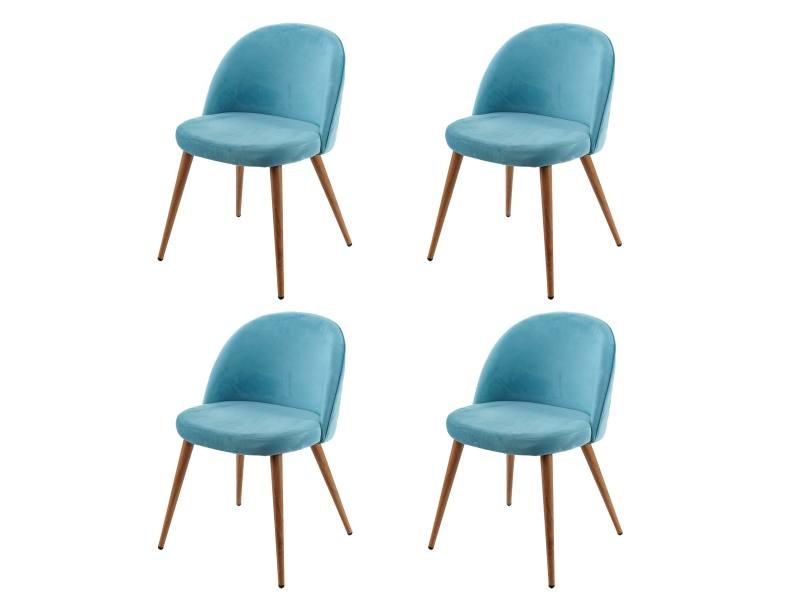 4x chaise de salle à manger hwc-d53, fauteuil, style rétro années 50, en velours ~ bleu turquoise