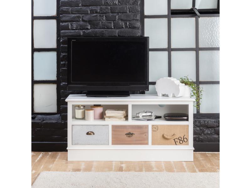 Meuble tv mdf blanc, 2 niches, 3 tiroirs   fcj07