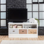 Meuble tv mdf blanc, 2 niches, 3 tiroirs  |  fcj07
