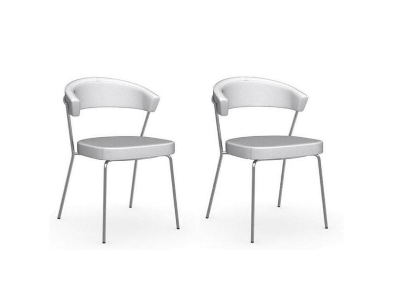 Lot de 2 chaises new york design italienne structure acier chromé assise cuir blanc optique 20100881142